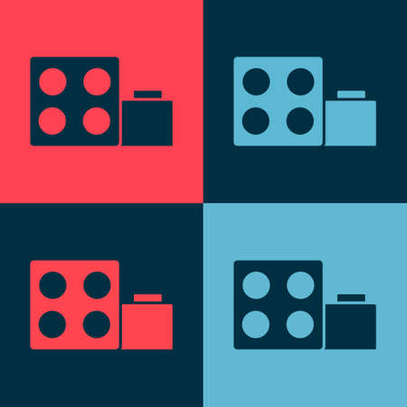 Pop art Toy building block bricks for children icon isolated on color background. Vector Vectores