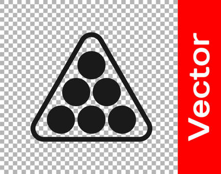 Black Billiard balls in a rack triangle icon isolated on transparent background. Vector