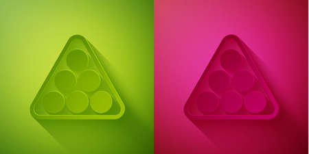 Paper cut Billiard balls in a rack triangle icon isolated on green and pink background. Paper art style. Vector