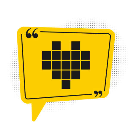 Black Pixel hearts for game icon isolated on white background. Yellow speech bubble symbol. Vector
