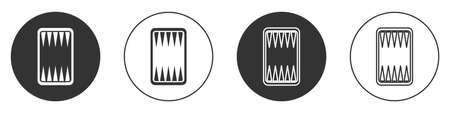 Black Backgammon board icon isolated on white background. Circle button. Vector