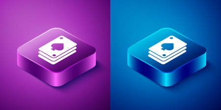 Isometric Playing cards icon isolated on blue and purple background. Casino gambling. Square button. Vector