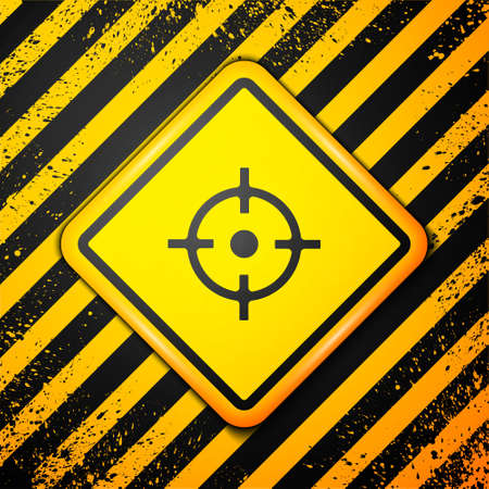 Black Target sport icon isolated on yellow background. Clean target with numbers for shooting range or shooting. Warning sign. Vector