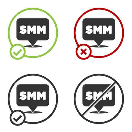 Black SMM icon isolated on white background. Social media marketing, analysis, advertising strategy development. Circle button. Vector