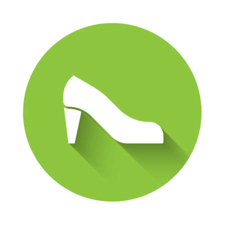 White Woman shoe with high heel icon isolated with long shadow. Green circle button. Vector