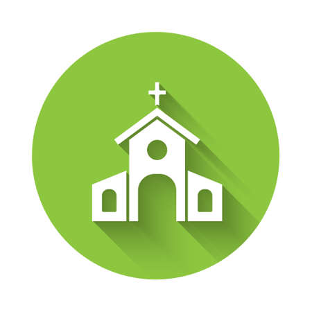 White Church building icon isolated with long shadow. Christian Church. Religion of church. Green circle button. Vector