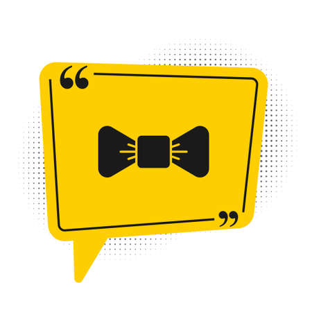 Black Bow tie icon isolated on white background. Yellow speech bubble symbol. Vector