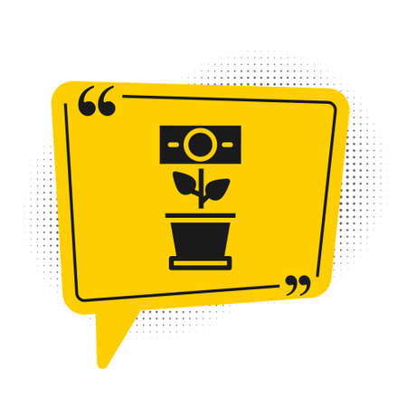 Black Money plant in the pot icon isolated on white background. Business investment growth concept. Money savings and investment. Yellow speech bubble symbol. Vector 向量圖像