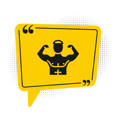 Black Bodybuilder showing his muscles icon isolated on white background. Fit fitness strength health hobby concept. Yellow speech bubble symbol. Vector