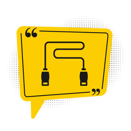 Black Jump rope icon isolated on white background. Skipping rope. Sport equipment. Yellow speech bubble symbol. Vector