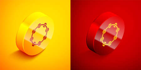 Isometric Musical instrument percussion tambourine, with metal plates icon isolated on orange and red background. Circle button. Vector
