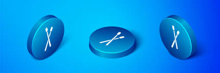Isometric Drum sticks icon isolated on blue background. Musical instrument. Blue circle button. Vector