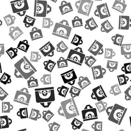 Black Interior fireplace icon isolated seamless pattern on white background. Vector
