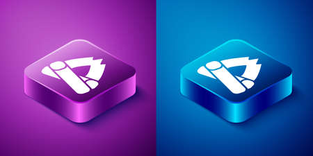 Isometric Campfire icon isolated on blue and purple background. Burning bonfire with wood. Square button. Vector Illustration