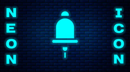 Glowing neon Ringing alarm bell icon isolated on brick wall background. Fire alarm system. Service bell, handbell sign, notification symbol. Vector  イラスト・ベクター素材