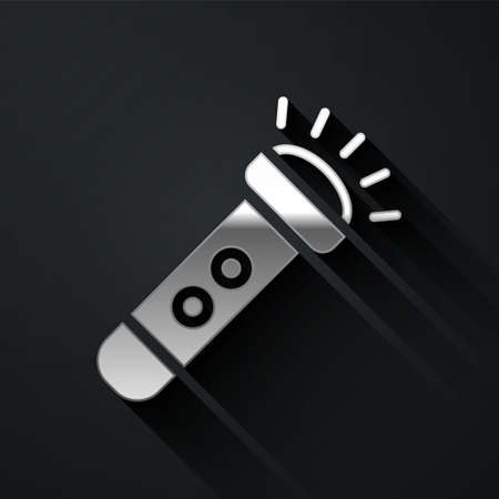 Silver Flashlight icon isolated on black background. Long shadow style. Vector