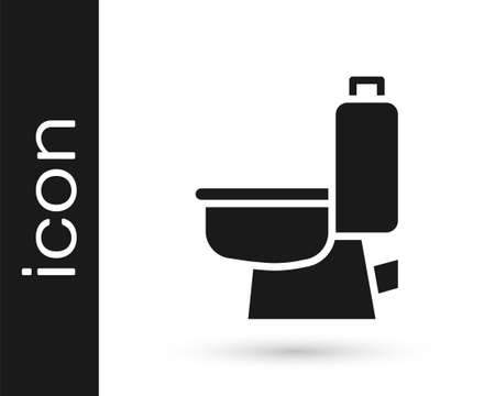 Black Toilet bowl icon isolated on white background. Vector