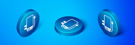 Isometric Electric boiler for heating water icon isolated on blue background. Blue circle button. Vector