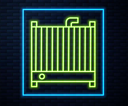 Glowing neon line Car radiator cooling system icon isolated on brick wall background. Vector Illustration