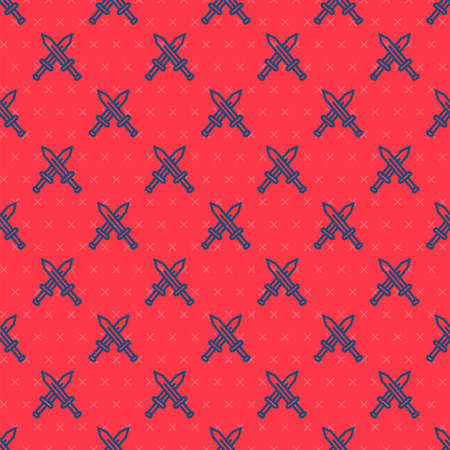 Blue line Crossed medieval sword icon isolated seamless pattern on red background. Medieval weapon. Vector 矢量图像