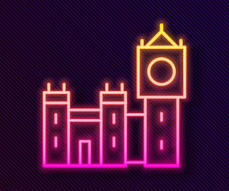 Glowing neon line Big Ben tower icon isolated on black background. Symbol of London and United Kingdom. Vector  イラスト・ベクター素材