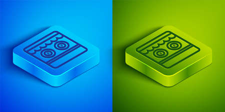 Isometric line Shooting gallery icon isolated on blue and green background. Square button. Vector Ilustração