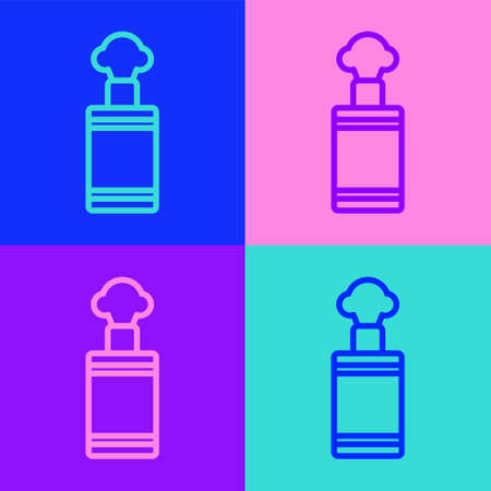 Pop art line Hand grenade icon isolated on color background. Bomb explosion. Vector