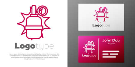 Logotype line Hand grenade icon isolated on white background. Bomb explosion. Logo design template element. Vector