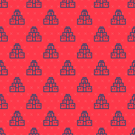 Blue line Chichen Itza in Mayan icon isolated seamless pattern on red background. Ancient Mayan pyramid. Famous monument of Mexico. Vector