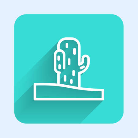 White line Cactus icon isolated with long shadow. Green square button. Vector