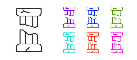Black line Broken ancient column icon isolated on white background. Set icons colorful. Vector Vettoriali