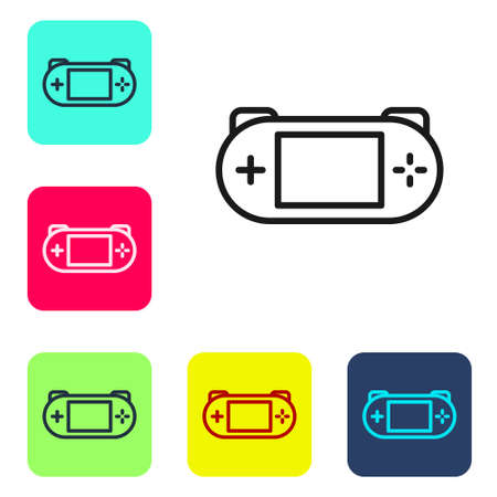 Black line Portable video game console icon isolated on white background. Gamepad sign. Gaming concept. Set icons in color square buttons. Vector
