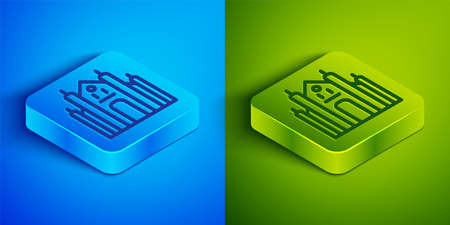 Isometric line Milan Cathedral or Duomo di Milano icon isolated on blue and green background. Famous landmark of Milan, Italy. Square button. Vector