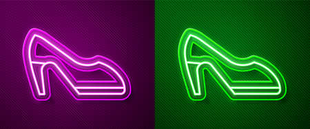Glowing neon line Woman shoe with high heel icon isolated on purple and green background. Vector