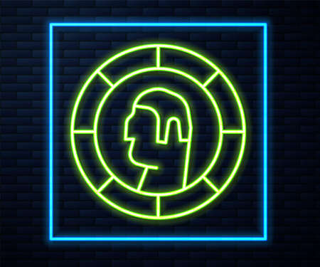 Glowing neon line Ancient Greek coin icon isolated on brick wall background. Vector