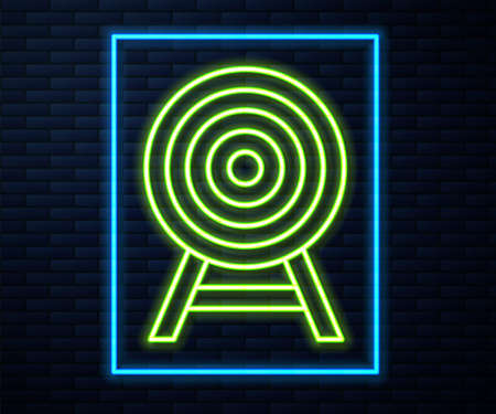 Glowing neon line Target with arrow icon isolated on brick wall background. Dart board sign. Archery board icon. Dartboard sign. Business goal concept. Vector Ilustração