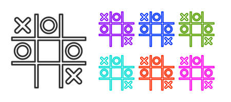 Black line Tic tac toe game icon isolated on white background. Set icons colorful. Vector Çizim