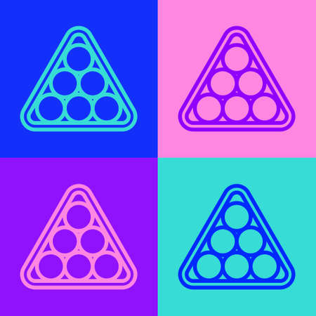 Pop art line Billiard balls in a rack triangle icon isolated on color background. Vector