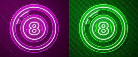 Glowing neon line Billiard pool snooker ball icon isolated on purple and green background. Vector 向量圖像