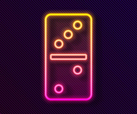 Glowing neon line Domino icon isolated on black background. Vector Vectores