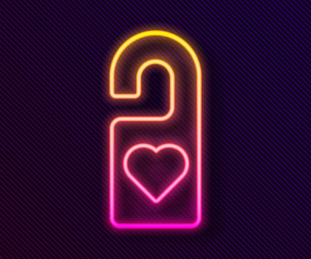 Glowing neon line Please do not disturb with heart icon isolated on black background. Hotel Door Hanger Tags. Vector