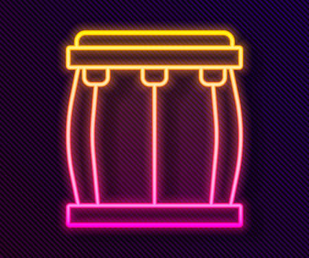 Glowing neon line Drum icon isolated on black background. Music sign. Musical instrument symbol. Vector
