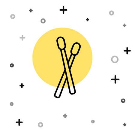 Black line Drum sticks icon isolated on white background. Musical instrument. Random dynamic shapes. Vector Illusztráció