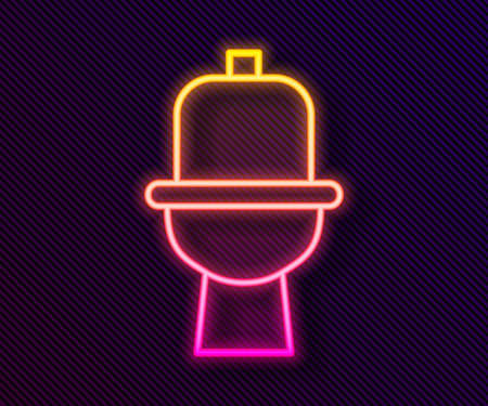 Glowing neon line Toilet bowl icon isolated on black background. Vector