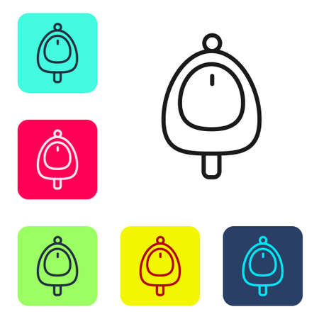 Black line Toilet urinal or pissoir icon isolated on white background. Urinal in male toilet. Washroom, lavatory, WC. Set icons in color square buttons. Vector 向量圖像