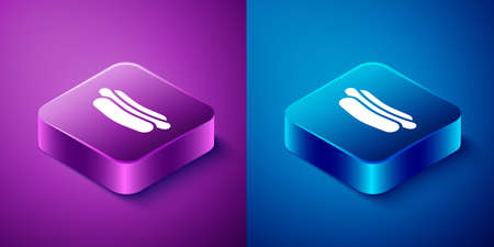 Isometric Hotdog sandwich icon isolated on blue and purple background. Sausage icon. Fast food sign. Square button. Vector Illustration