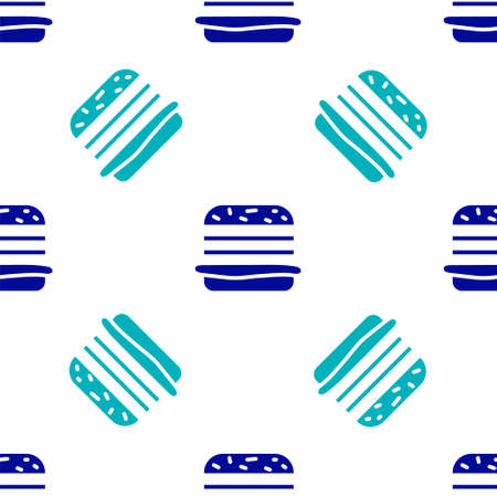 Blue Burger icon isolated seamless pattern on white background. Hamburger icon. Cheeseburger sandwich sign. Fast food menu. Vector Illustration Vettoriali