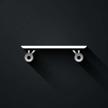 Silver Longboard or skateboard cruiser icon isolated on black background. Extreme sport. Sport equipment. Long shadow style. Vector Illustration 일러스트