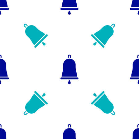 Blue Ringing bell icon isolated seamless pattern on white background. Alarm symbol, service bell, handbell sign, notification symbol. Vector Illustration