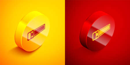Isometric Hand saw icon isolated on orange and red background. Circle button. Vector Illustration